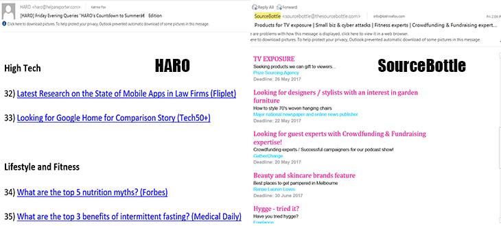 HARO Sourcebottle inbox