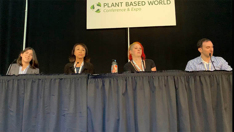 Stephen Bronner with Annie Ryu, Sadrah Schadel and Miyoko Schinner at the Plant Based World Conference & Expo
